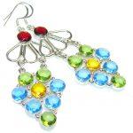 Disco Light!!! Multicolor Quartz Sterling Silver earrings