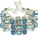 Delicate Blue Topaz and fire Opal Sterling Silver Bracelet