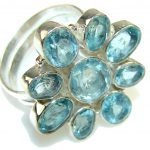 My Sweet!! Swiss Blue Topaz Sterling Silver Ring s. 10 3/4