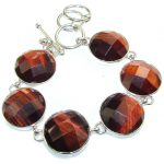 Fabulous Color Of Red Tigers Eye Sterling Silver Bracelet