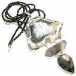 Huge!! Fainth In Love Dendritic Agate Sterling Silver necklace
