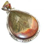 Fabulous Red Creek Jasper Sterling Silver Pendant