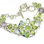 Misty Morning!! Created Peridot Sterling Silver Bracelet