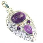 Real Natural Purple Amethyst Sterling Silver Pendant