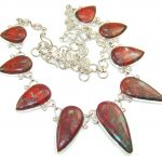 Natural Red Sonora Jasper Sterling Silver Necklace