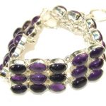 Real Natural Purple Amethyst Sterling Silver Bracelet