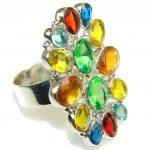 Exotic Multicolor Quartz Sterling Silver Ring s. 10