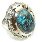 Big!! Fabulous Color Of Chrysocolla Sterling Silver ring s. 11