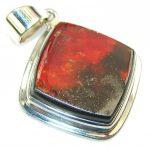 Petite Red Ammolite Sterling Silver Pendant