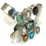 Exotic Multicolor Quartz Sterling Silver Ring s. 10 1/4
