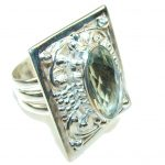Light Green Amethyst Sterling Silver ring s. 11