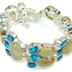 Natural Golden Rutilated Quartz Sterling Silver Bracelet
