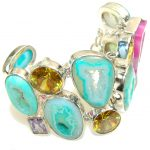 Multicolor Secret!! Agate Druzy Sterling Silver Bracelet