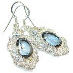 Deep Blue Quartz Sterling Silver Earrings