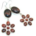 New Design!! Red Obsidian Sterling Silver earrings