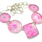 Amazing Design!! Pink Agate Sterling Silver necklace