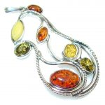 Let's Dance!! Multicolor Polish Amber Sterling Silver Pendant