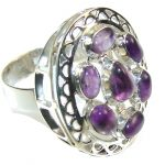 Natural Purple Amethyst Sterling Silver ring s. 9