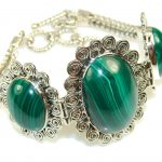 The One! Natural Green Malachite Sterling Silver Bracelet