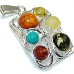 Perfect Multicolor Polish Amber Sterling Silver Pendant