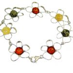 Beautiful Multicolor Polish Amber Sterling Silver Bracelet