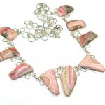 Excellent Pink Rhodochrosite Sterling Silver necklace