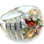 Spark Of Life!! Multicolor Quartz Sterling Silver Ring s. 7 1/2