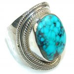 Awesome Blue Turquoise Sterling Silver Ring s. 9