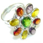 Precious Multicolor Quartz Sterling Silver Ring s. 8