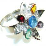 Excellent Multicolor Quartz Sterling Silver Ring s. 11