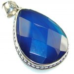 Magic Blue Botswana Agate Sterling Silver Pendant