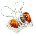 True Love!! Multicolor Polish Amber Sterling Silver Earrings