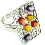 Excellent Multicolor Quartz Sterling Silver Ring s. 10
