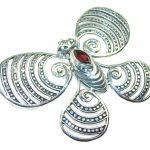 New Design!! Red Garnet Sterling Silver Pendant