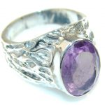 Perfect Purple Amethyst Sterling Silver ring s. 7 1/4