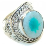 Amazing Blue Agate Sterling Silver ring; s. 13 1/2