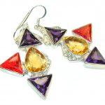 Aura Of Beauty!! Multicolor Quartz Sterling Silver earrings