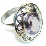 Sweet Light Pink Amethyst Sterling Silver ring; size 9