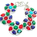 Circle Of Love!! Multicolor Quartz Sterling Silver Bracelet