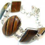 Delicate Brown Tigers Eye Sterling Silver Bracelet