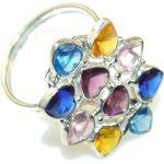 Perfect! Multicolor Quartz Sterling Silver Ring s. 10