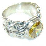 Sunshine Yellow Quartz Sterling Silver Ring s. 8