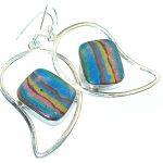 Opening Night!! Rainbow Calsilica Sterling Silver earrings
