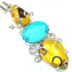 Big!! Fabulous DEsign!! Polish Amber Sterling Silver Pendant