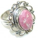 Excellent Pink Rhodochrosite Sterling Silver ring s. 8