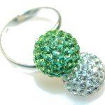 Stylish Green & White Quartz Sterling Silver ring s. Adjustable