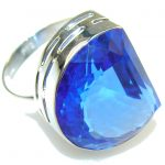 Amazing Color!! Created London Blue Topaz Sterling Silver ring s. 12