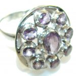 Delicate Purple Amethyst Sterling Silver ring s. 10