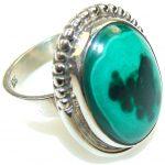 Fantastic Natural Malachite Sterling Silver Ring s. 7