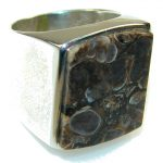 Fantastic Crinoid Fossil Sterling Silver Ring s. 7 1/2